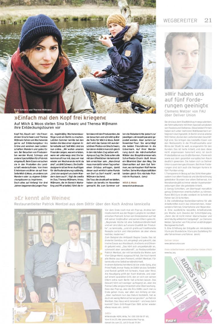Milch & Moos · Vom Wandern und vom guten Essen · Brandenburg, Berlin Presse